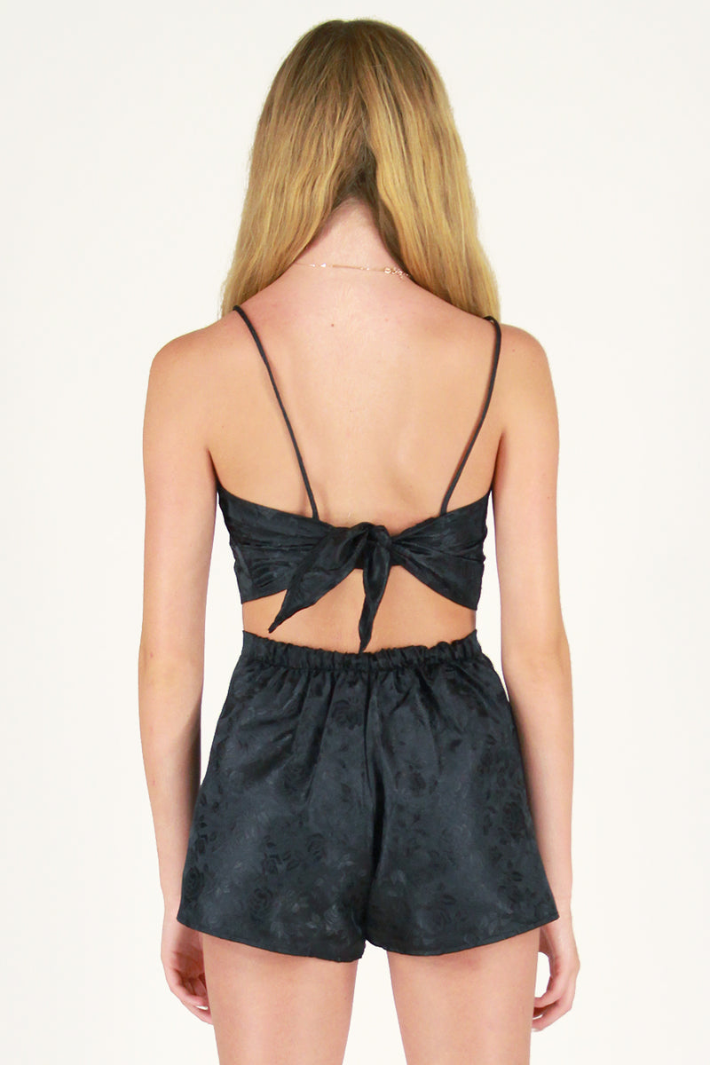 Adjustable Cami Top - Black Satin with Roses