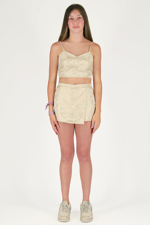 Adjustable Cami Top and Skorts - Champagne Satin with Roses