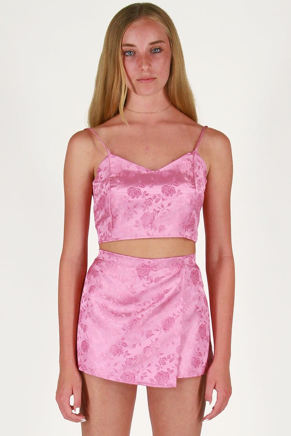 Cami Top - Pink Satin with Roses