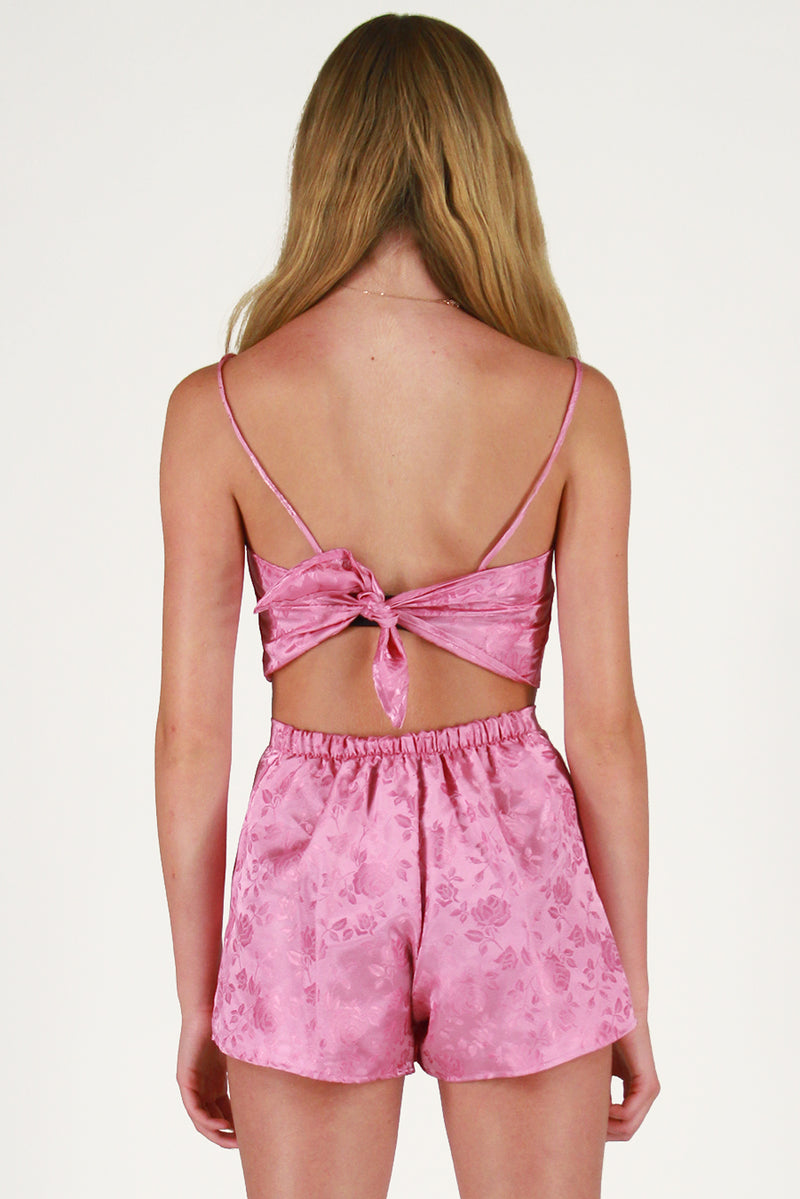 Adjustable Cami Top and Skorts - Pink Satin with Roses