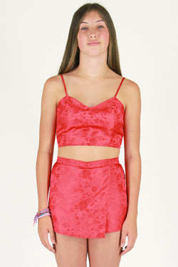 Adjustable Cami Top and Skorts - Red Satin with Roses