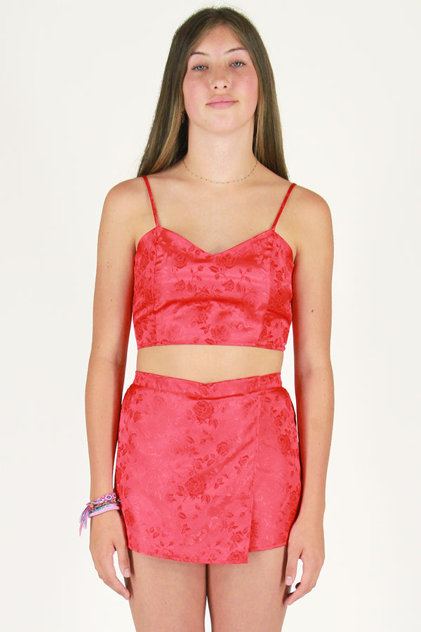 Adjustable Cami Top - Red Satin with Roses