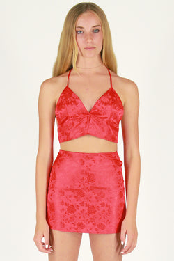 Halter Bralette - Red Satin with Roses