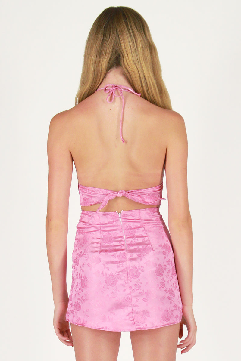 Skirt - Pink Satin with Roses