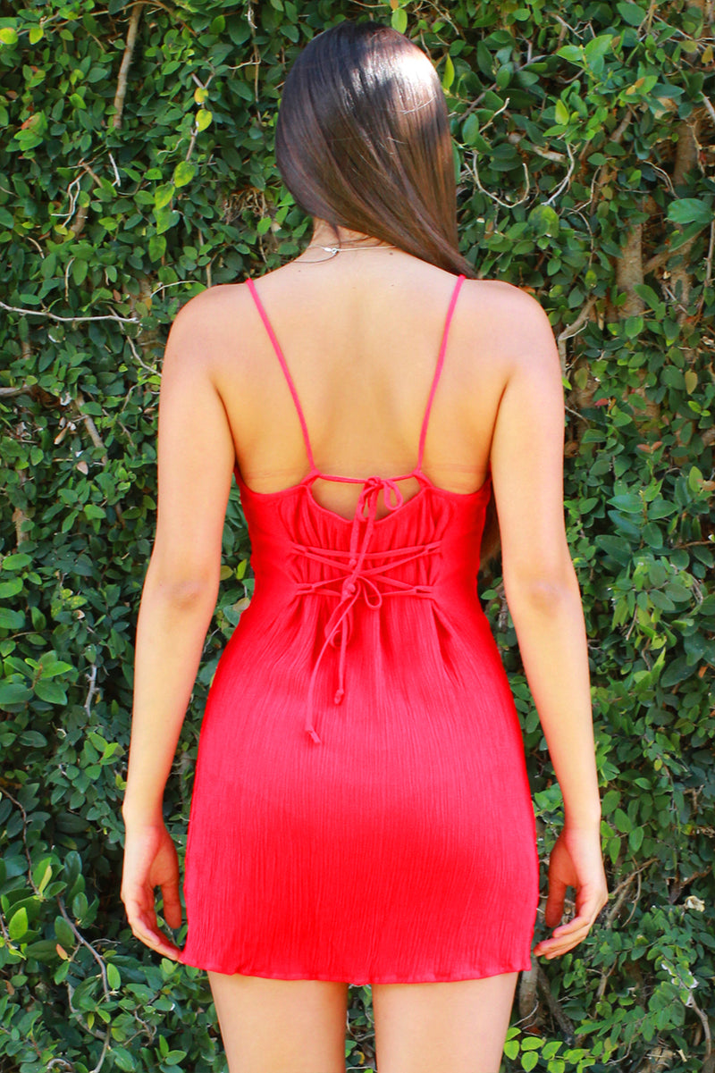 Adjustable Lace Back Dress - Red Scrunchy