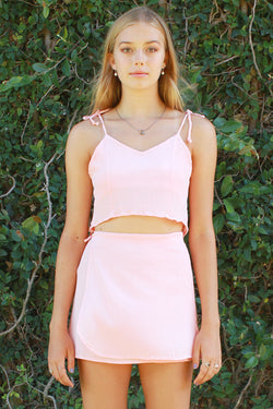 Ribbon Cami Top and Wrap Skirt - Pink Scrunchy