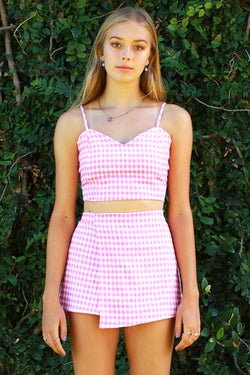 Adjustable Cami Top and Skorts - Flanel Pink Checker