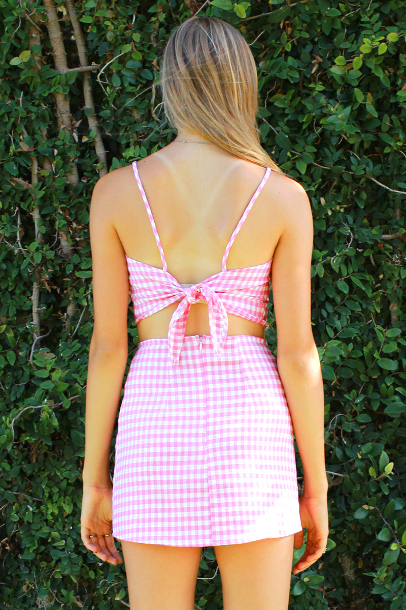 Adjustable Cami Top and Skirt - Flanel Pink Checker