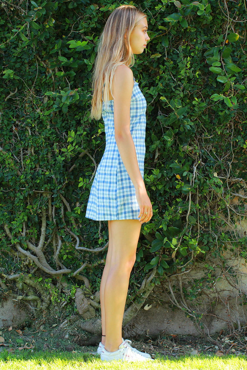Fitted Square Strap Dress - Flannel Blue Plaid