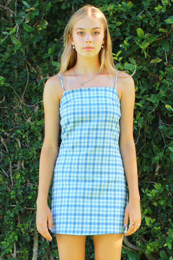 Fitted Square Strap Dress - Flanel Blue Plaid