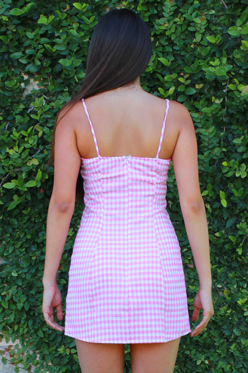 Fitted Square Strap Dress - Flanel Pink Checker
