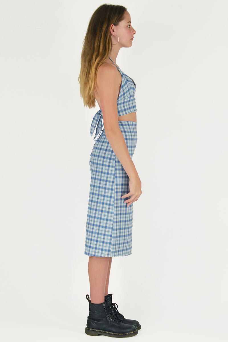 Midi Skirt - Flannel Blue Plaid