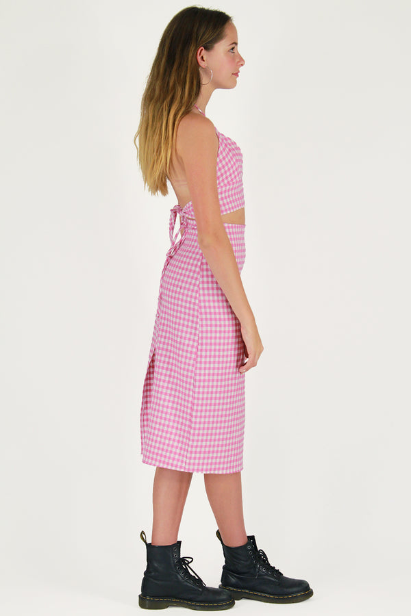 Midi Skirt - Flanel Pink Checker