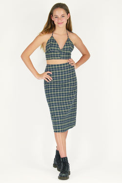 Bralette and Midi Skirt - Flannel Green Plaid