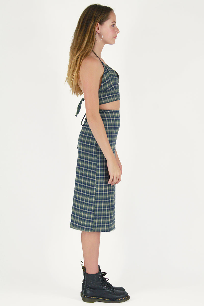 Midi Skirt - Flannel Green Plaid
