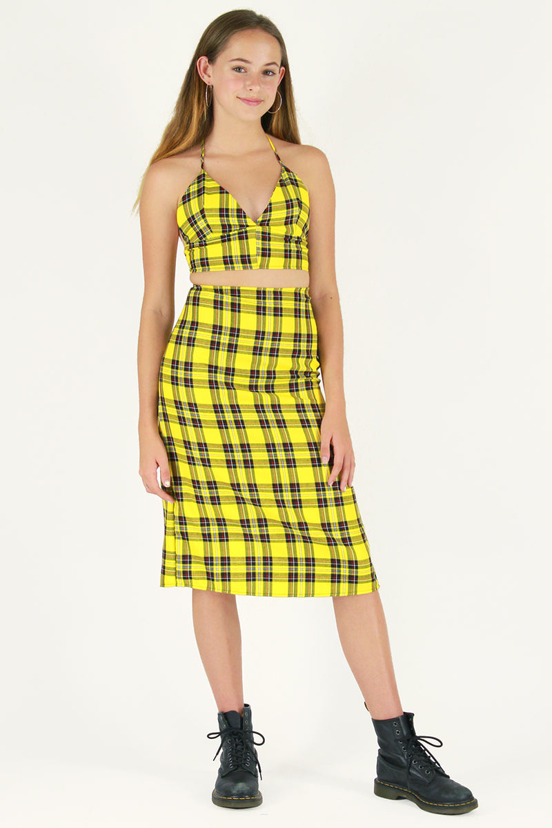 Halter Bralette and Midi Skirt - Yellow Plaid