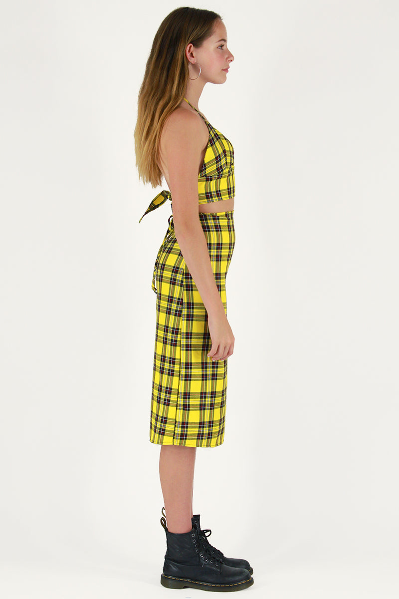 Midi Skirt - Yellow Plaid