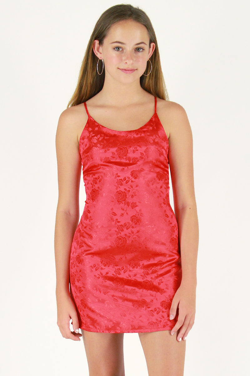 Adjustable Satin Dress - Red Satin with Roses