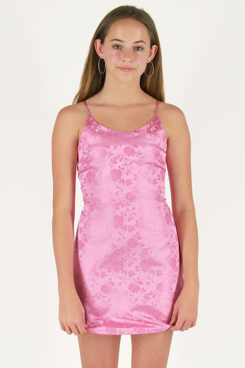 Adjustable Satin Dress - Pink Satin with Roses