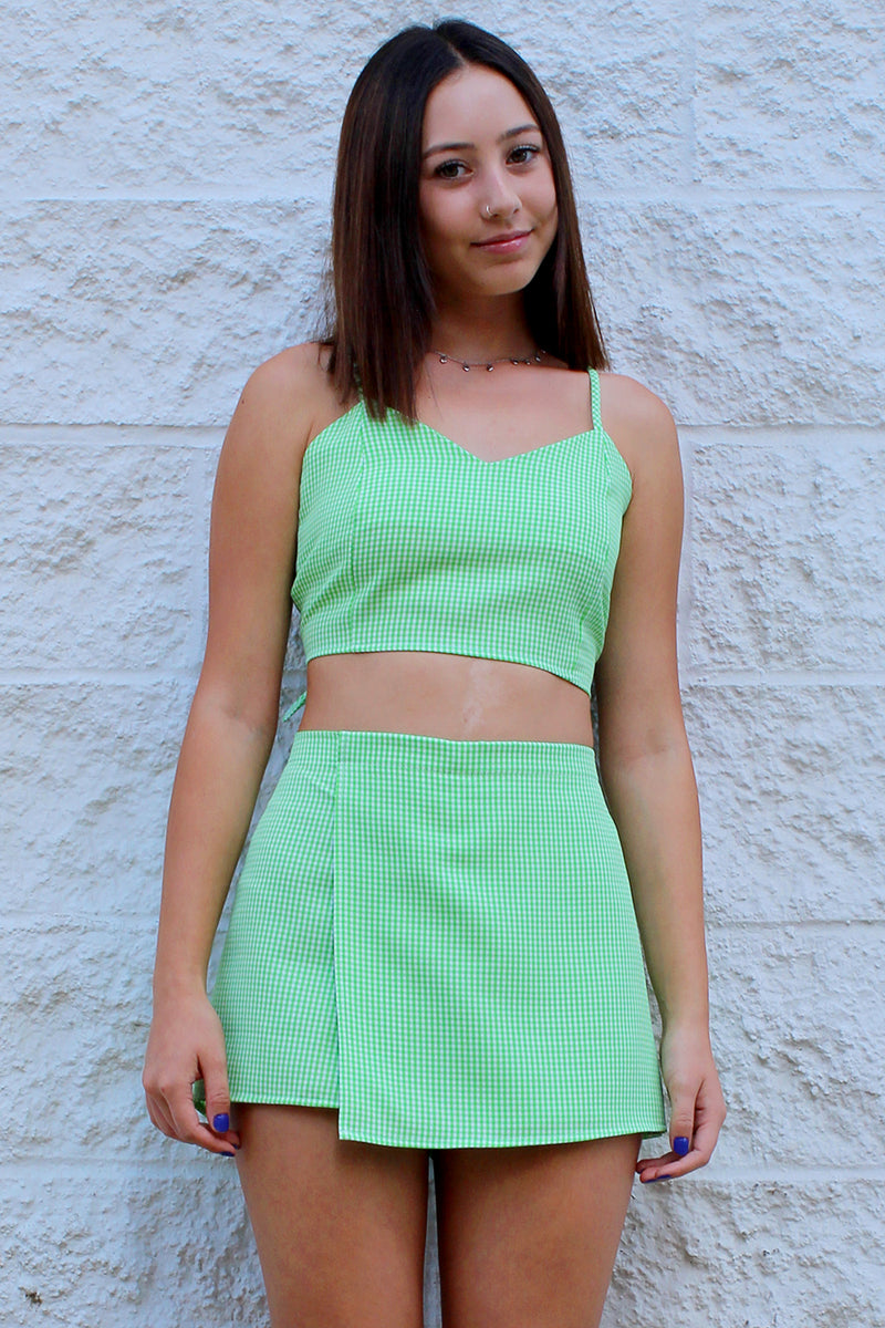 Adjustable Cami Top and Skorts - Lime Green Gingham