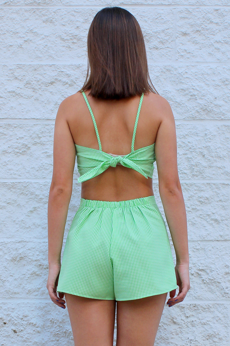 Adjustable Cami Top - Lime Green Gingham