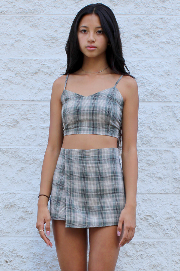 Adjustable Cami Top and Skorts - Flanel Green Beige Plaid