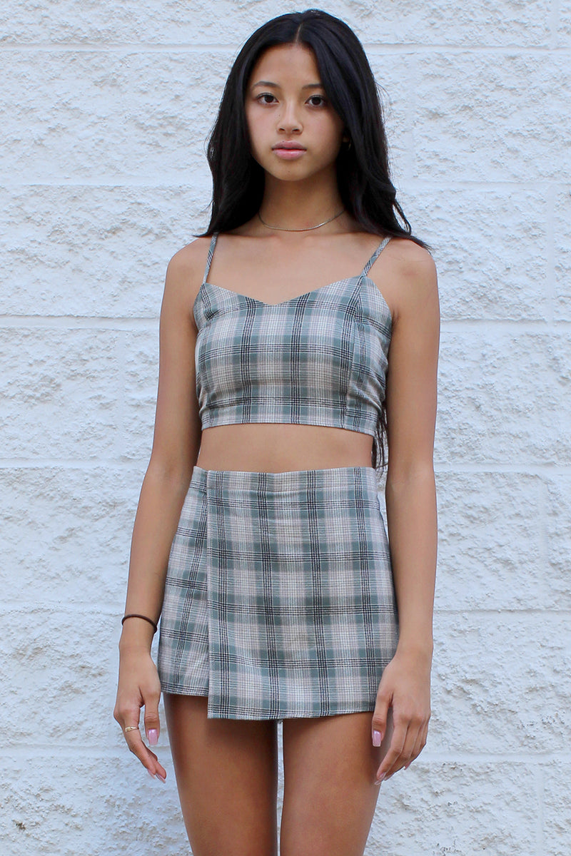 Adjustable Cami Top and Skorts - Flannel Green Beige Plaid