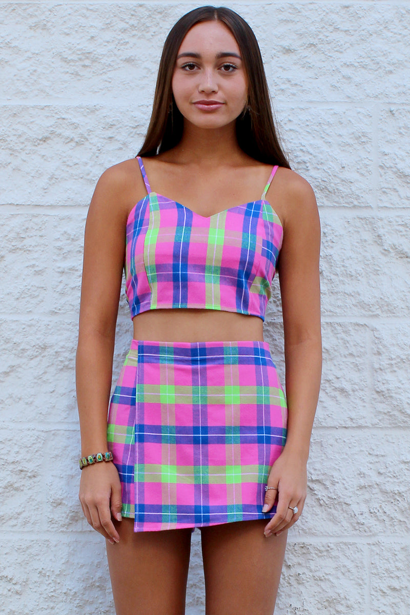 Adjustable Cami Top - Flannel Pink Plaid