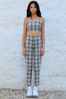 Adjustable Cami Top and Pants - Flanel Green Beige Plaid