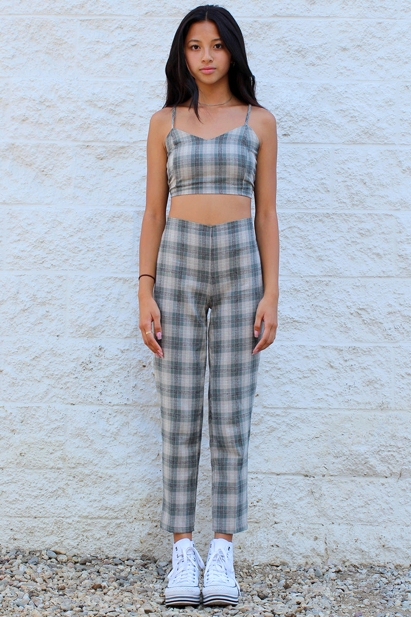 Adjustable Cami Top and Pants - Flannel Green Beige Plaid