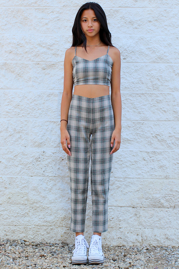 Pants - Flannel Green Beige Plaid