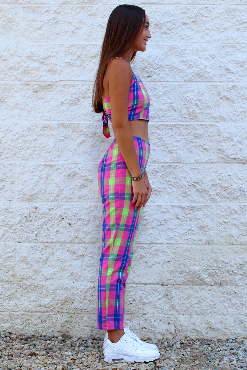 Adjustable Cami Top and Pants - Flanel Pink Plaid