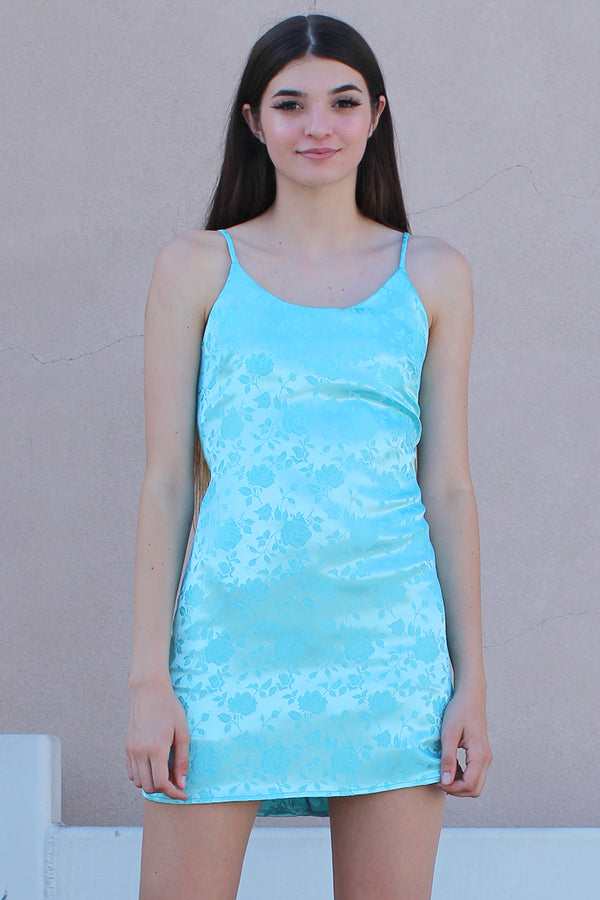 Adjustable Satin Dress - Baby Blue with Roses