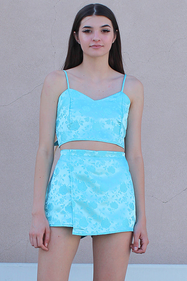 Adjustable Cami Top and Skorts - Baby Blue Satin with Roses