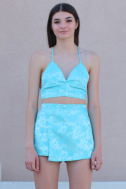 Halter Bralette and Skorts - Baby Blue Satin with Roses