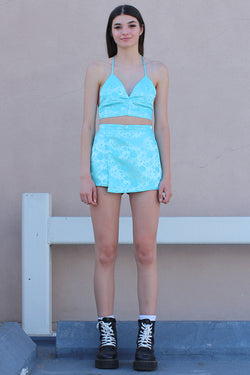 Skorts - Baby Blue Satin with Roses