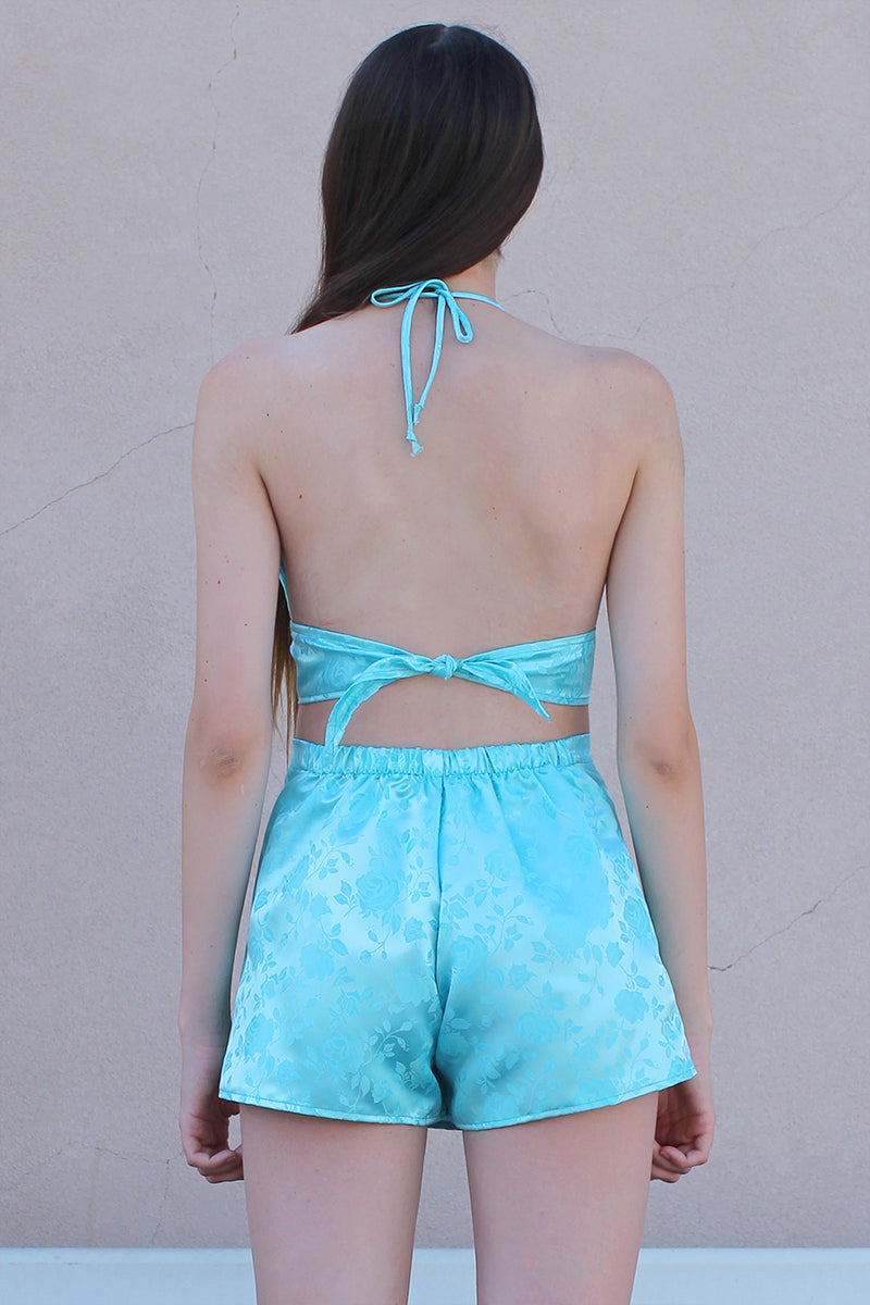 Halter Bralette - Baby Blue Satin with Roses