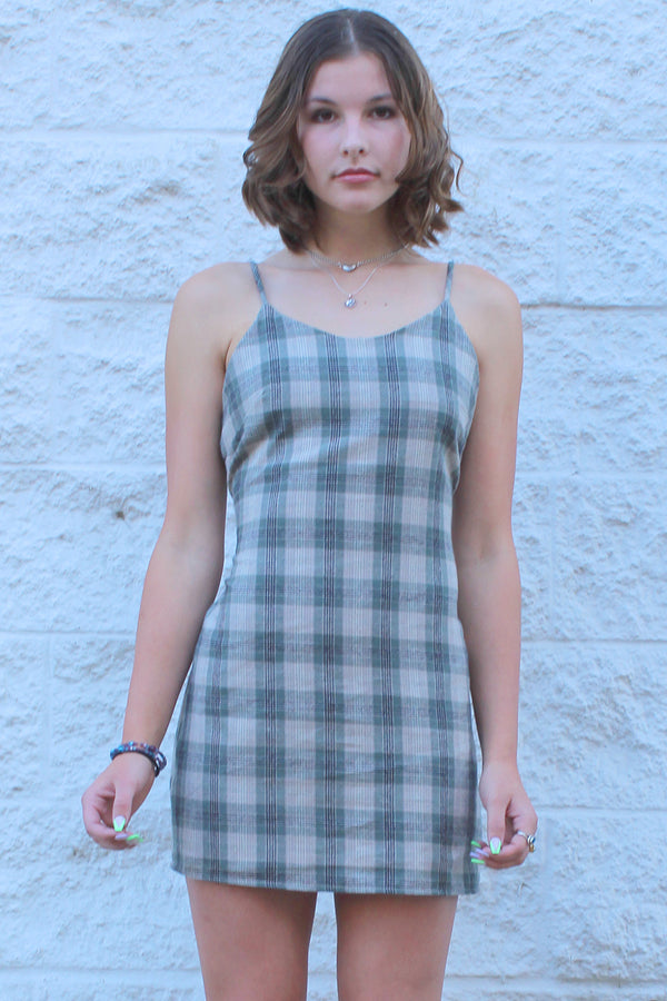 Adjustable Lace Back Dress - Flanel Green Beige Plaid