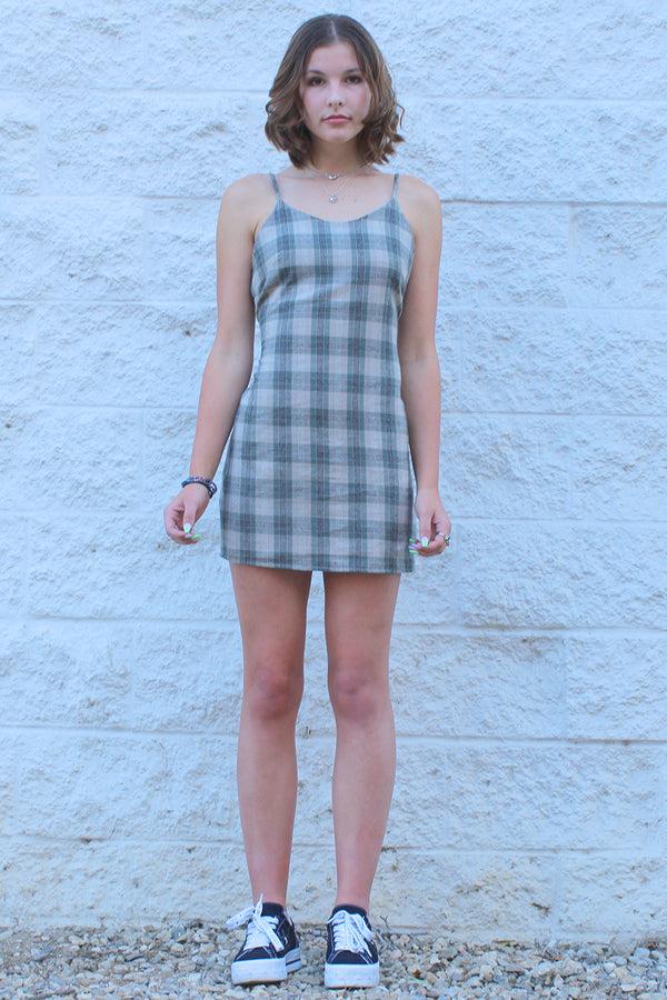 Adjustable Lace Back Dress - Flannel Green Beige Plaid