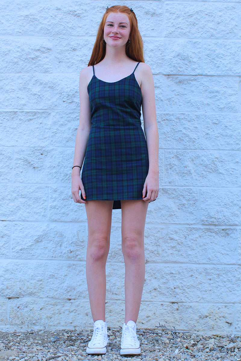 Adjustable Lace Back Dress - Flanel Navy Green Plaid