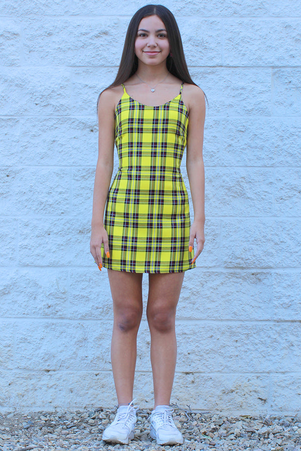 Adjustable Lace Back Dress - Yellow Plaid