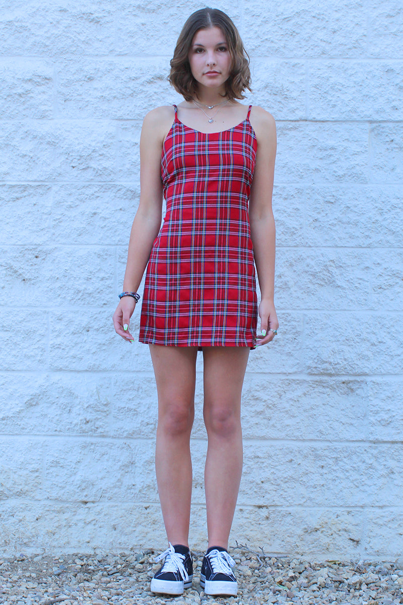 Adjustable Lace Back Dress - Red Plaid