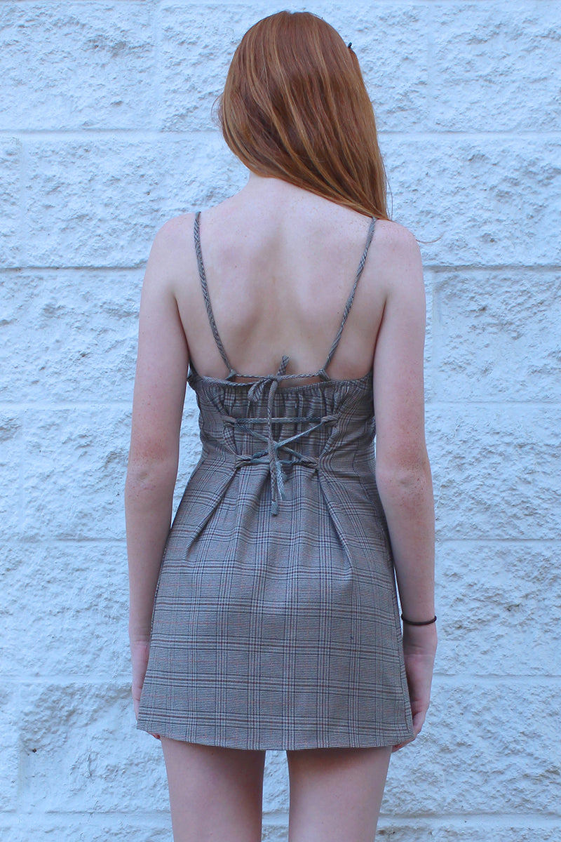Adjustable Lace Back Dress - Beige Plaid