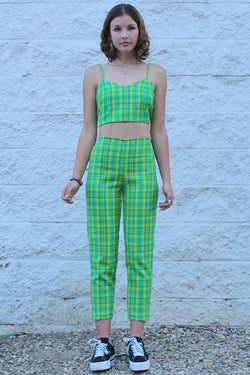 Adjustable Cami Top and Pants - Lime Green Plaid