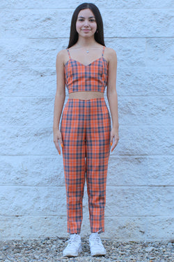 Adjustable Cami Top and Pants - Orange Plaid