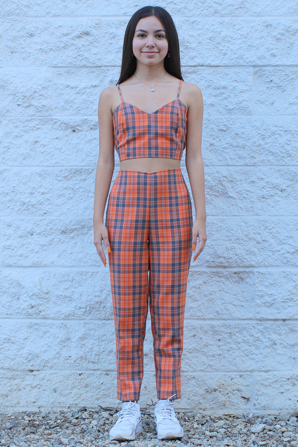 Adjustable Cami Top - Orange Plaid