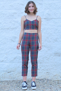 Adjustable Cami Top and Pants - Tartan