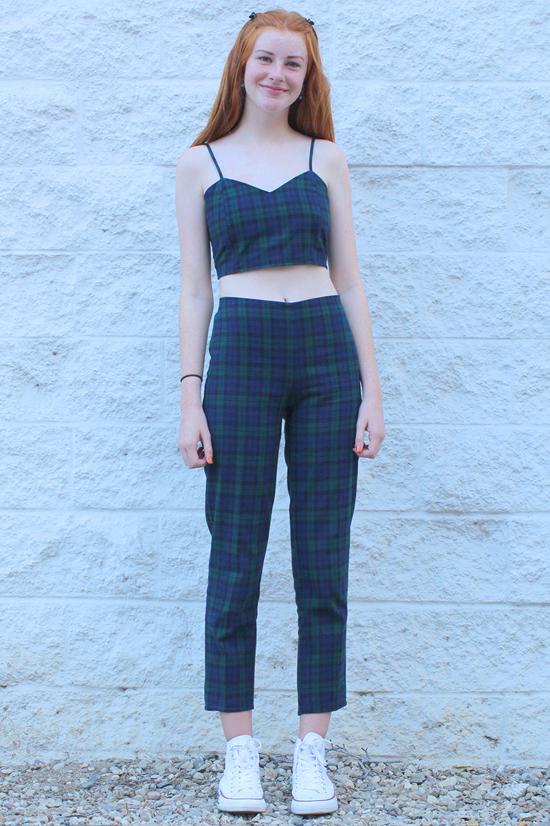 Pants - Flanel Navy Green Plaid