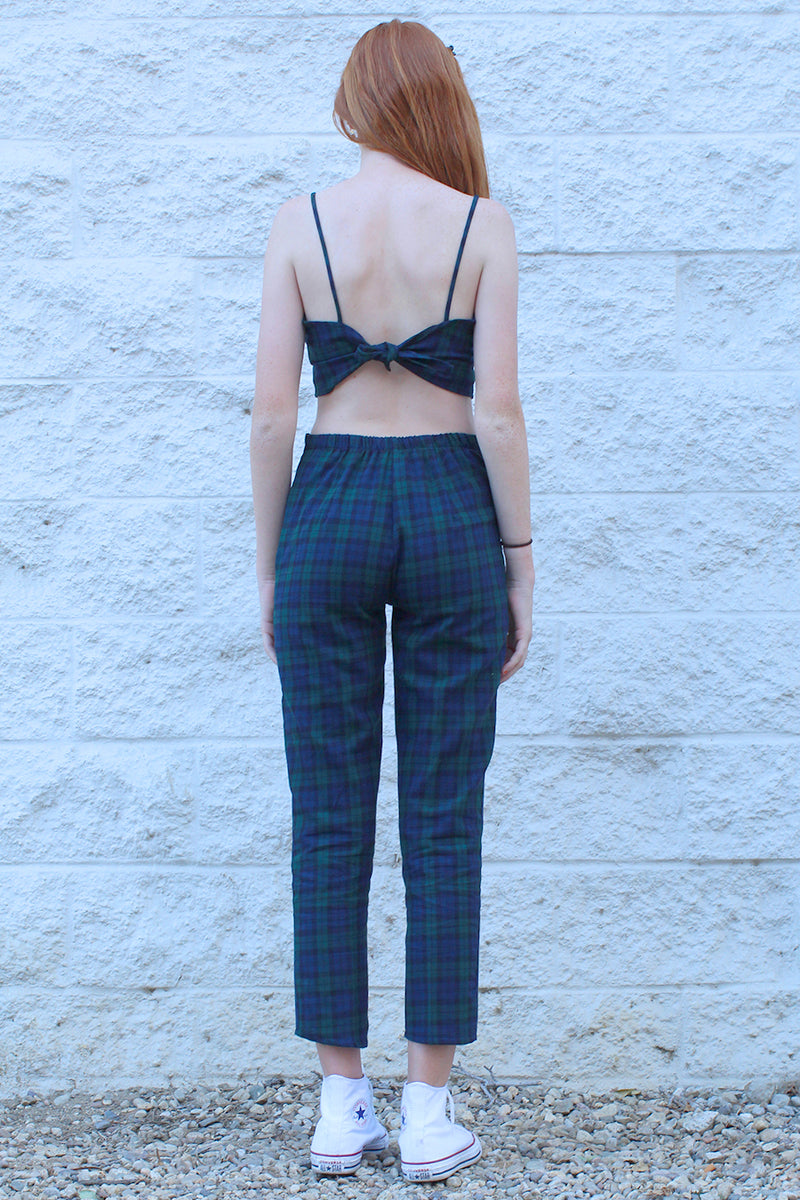 Adjustable Cami Top and Pants - Flannel Navy Green Plaid
