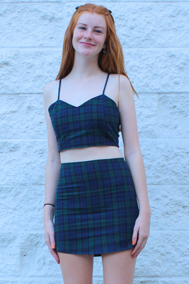 Skirt - Flannel Navy Green Plaid